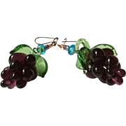 Grape Dangling Glass Earrings