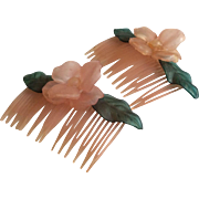 Pink and Green Floral Hair Combs