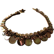 Choker Necklace in Copper Look Leaves and Shell