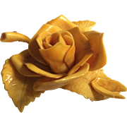 Yellow Rose with Leaves Pin