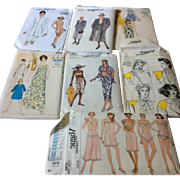 Group of 7 Vogue Sewing Patterns Women's Dresses, Coat, Lingerie