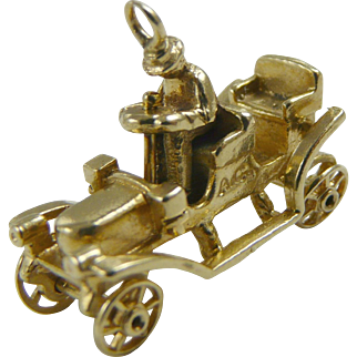 Antique Car Charm Mechanical Vintage 14K Gold Wheels Turn Tin Lizzy Style