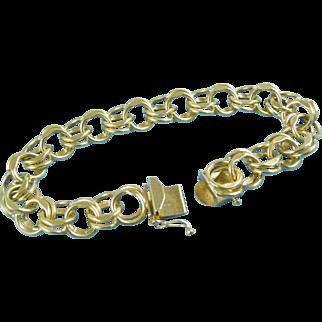 "Charm Bracelet Vintage 14K Gold 7½"" Long Classic Style 28.7 grams"
