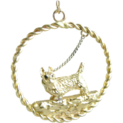 Scotty or Westy Terrior Dog Bracelet Charm or Pendant 14K Gold Vintage Custom Made