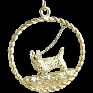 Scotty or Westy Terrior Dog Bracelet Charm or Pendant 14K Gold Vintage Custom Made