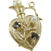 1960s Bracelet Charm Vintage 14K Gold Perfume Bottle with dark red Stones & cultured Pearl