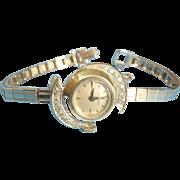 Ladies 14Kt white Gold Diamond Hamilton Watch + 14Kt band Vintage 1960s
