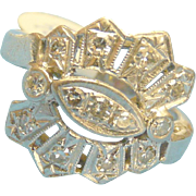 Art Deco Ring Platinum Diamond Vintage 1930s era