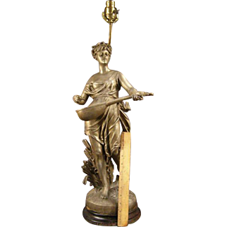 BIG Antique French Draped Nude Woman Lamp Bronze Statue Sculpture Figure Guillot