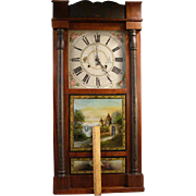 ~RARE~ 1800's Reverse Painted Federal Column & Cornice Mahogany Empire Tole Clock