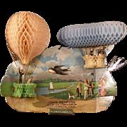 1911~ Honeycomb Zeppelin Airship Blimp Hot Air Balloon Calendar Card Die Cut Out
