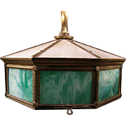 Antique Victorian Hanging Slag Opalescent Glass Brass Lamp Ceiling Light Fixture