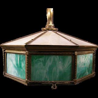 Antique Victorian Hanging Slag Opalescent Glass Brass Lamp Ceiling Light Fixture