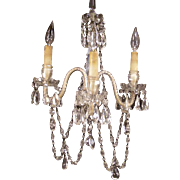 19c Victorian Cut Glass Crystal Prism Sconce Chandelier Lamp Ceiling Light Fixture