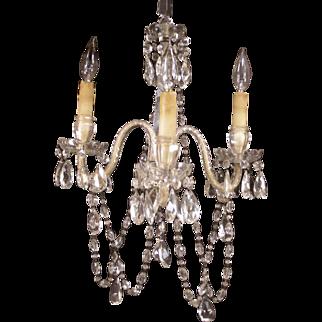 19c Victorian Cut Glass Crystal Prism Sconce Chandelier Lamp Ceiling Light Fixture