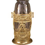 19th c French Baccarat Empire Bronze Crystal Glass Gilt Ormolu Vase Palais Royal