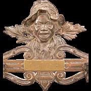 1800s Black Americana Johnny Griffin Bronze Cast Iron Hat Coat Rack Folk Art Boy ALL ORIGINAL!