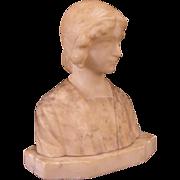 1800's Art Nouveau Carved Marble Bust Sculpture Statue Girl Figure w/ Bonnet Hat