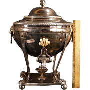 BIG 19c Silver Chafing Dish Samovar Coffee Tea Pot Lion Urn Soup Tureen