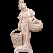 19c Art Nouveau Sevres Figure Statue Sculpture Girl Centerpiece French Porcelain Woman
