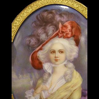 1800's KPM Wagner Hand Painted Porcelain Portrait Plaque Duchess Devonshire Hat~