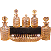 30's French Bayel Portieux Pink Depression Glass Vanity Dresser Perfume Bottle Set Tumble Up Decanter Finger Bowl