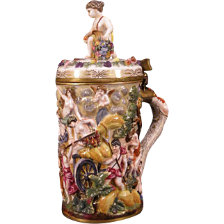 19c Carl Thieme German Porcelain Bronze Stein Nude Girl Figure Mythological Mug Woman Figure
