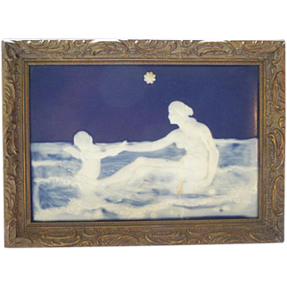 RARE 19c Pate sur Pate Minton Porcelain Nude Girl Angel Goddess Portrait Plaque