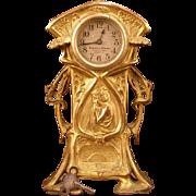 19th c Victorian Art Nouveau Bronze Girl Figure Mantle Clock Statue 8d Alarm Woman Gold