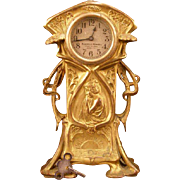 19th c Victorian Art Nouveau Bronze Girl Figure Mantle Clock Statue 8d Alarm Woman Gold