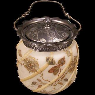 1800's Victorian Silver SIGNED Mt Washington Enamel Glass Crown Milano Biscuit Cracker Jar