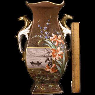 LG 19th c Old Paris Porcelain Dragon Figure Portrait Painting Sevres Plaque Vase Lily