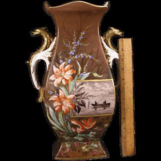 LG 1800's Old Paris French Porcelain Dragon Figure Portrait Painting Sevres Vase