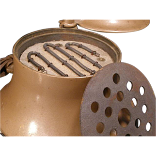 1930's Grillite Lamp INDUSTRIAL STEAMPUNK Cook Grill Stove Light Cast Iron Wood Copper Color Lighting Fixture