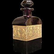 1910 Moser Karlsbad Cut Amethyst Glass OROPLASTIC Frieze Cologne Perfume Bottle