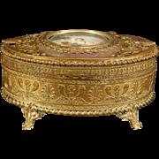 1800's Palais Royal Dore French Bronze Portrait Jewelry Casket Music Dresser Box