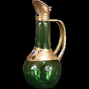 1910 Art &Craft Nouveau Jeweled Copper Iridescent Glass Ewer Bottle Decanter Urn