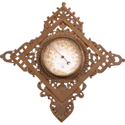 RARE 1800's Cast Iron Wall Thermometer Gothic Portrait Plaque Clock Frame