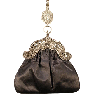 19th c Chinese Export Canton Sterling Silver Chatelaine Purse Bag Figure Cherub HEAVY
