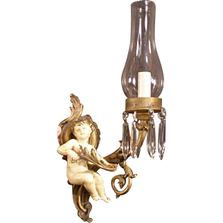 Antique French Bronze Angel Figure Prism Wall Sconce Lamp Light Statue Sculpture