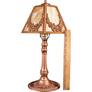 Antique Bronze Swag Flower Slag Glass Parlor Banquet Table Lamp Light Fixture