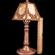 Antique Bronze Swag Flower Slag Glass Parlor Banquet Table Lamp Light Fixture