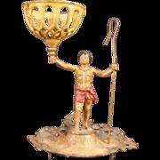 19c BLackamoor Cast Iron Figure String Oil Lamp Holder Stand Black Americana Man