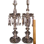 BIG Pr 1930's-40's CUT Glass Prism Crystal Lamp Hurricane Mantle Light Luster Silver