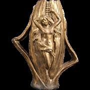 Antique Bronze Spelter Nude Woman Figure American Indian Corn Maize Girl Portrait Flower Vase