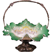 1800's Victorian Silver Green Moser Enamel Bride Basket Center Piece Bowl Holder
