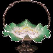 1800's Victorian Silver Green Moser Enamel Bride Basket Center Piece Bowl Holder