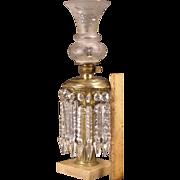 19c Cornelius Baker Marble Cut Glass Shade Prism Oil Hurricane Solar Astral Lamp