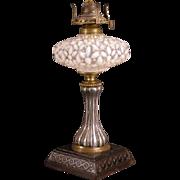 1880's Cast Iron Hobbs Brockunier Opalescent Glass Kerosene Oil Lamp Parlor Banquet
