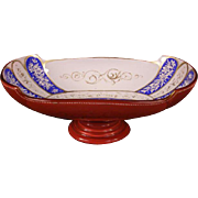 1800's Moser Bohemian Enamel Cased Cranberry Glass Center Piece Bowl Bride Basket